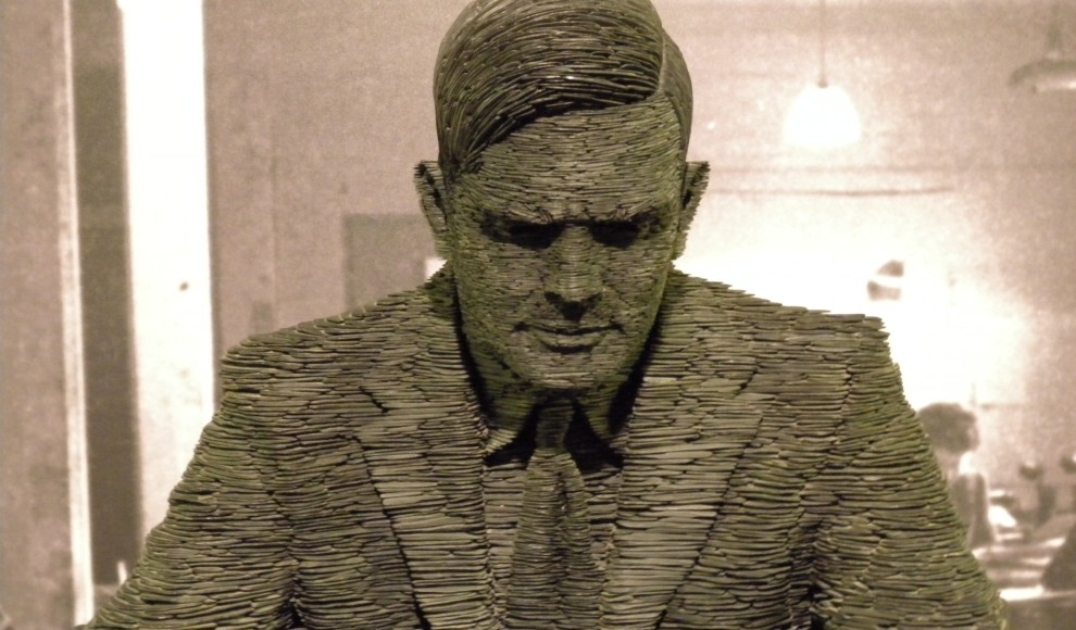 Artist Stephen Kettle's stacked slate sculpture of Alan Turing.