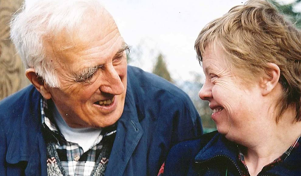Jean Vanier is the founder of L'Arche (The Ark), an international network of communities for people with intellectual disabilities. Here, Vanier (left) is shown with Gwenda, a resident of L'Arche Greater Vancouver.
