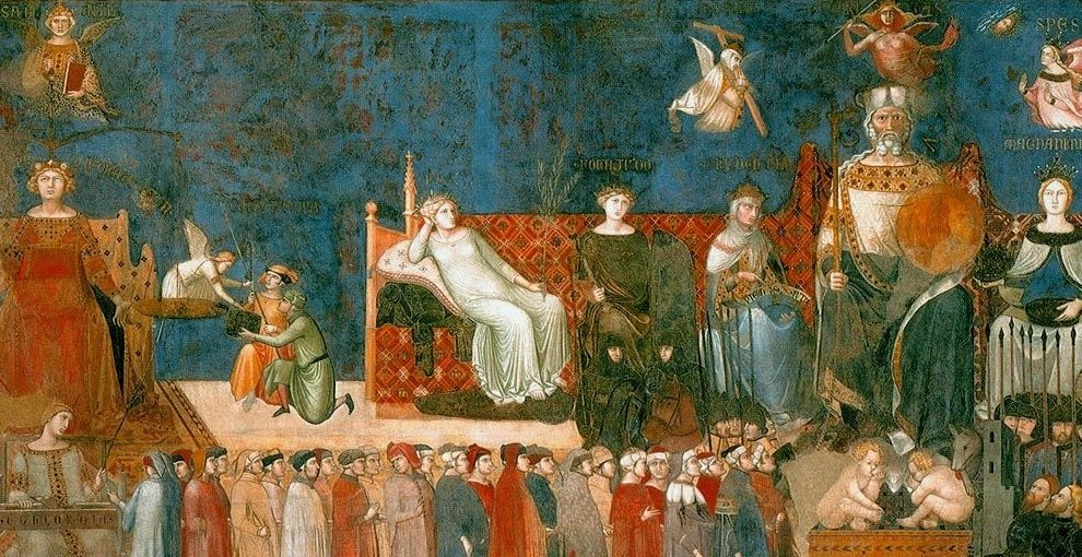 Detail of Ambrogio Lorenzetti's Allegory of Good Government (1338-1340), discussed below.