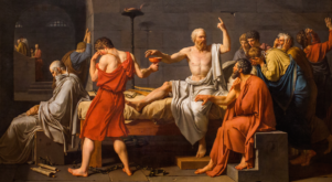 Jacques-Louis David's The Death of Socrates (1787). Though famous for leading a virtuous life, Socrates was condemned to death by the Athenian government.