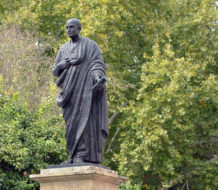 A statue of Lucius Annaeus Seneca, Roman Stoic philosopher and statesman. The statue, by Amadeo Ruiz Olmos, is located in Córdoba, Spain, where Seneca was born.
