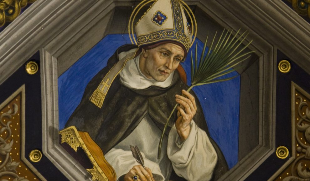Detail of a painting of St. Albert the Great on the ceiling of Santa Maria dell'Anima in Rome. St. Albert, a Dominican friar and bishop who taught St. Thomas Aquinas, is the patron saint of scientists.