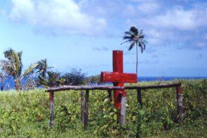 Ceremonial cross of John Frum cargo cult, Tanna island, New Hebrides (now Vanuatu), 1967.