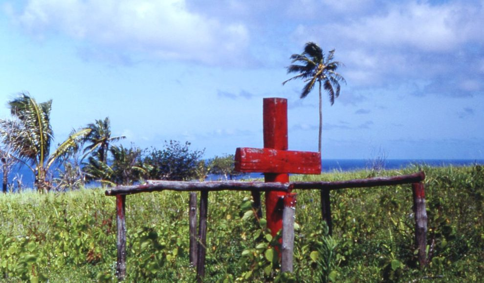 Ceremonial cross of John Frum cargo cult, Tanna island, New Hebrides (now Vanuatu), 1967.