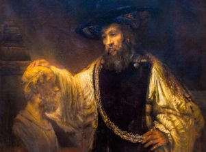 Rembrandt's oil-on-canvas painting, Aristotle Contemplating a Bust of Homer (mentioned below).