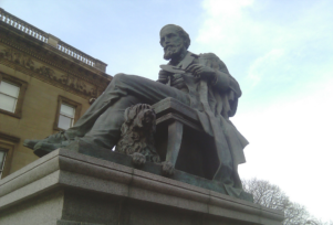 A statue of Scottish scientist James Clerk Maxwell, discussed below, who formulated the classical theory of electromagnetism.