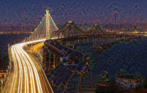 An image produced with DeepDream, a program that simulates hallucinations using a model similar to predictive processing.